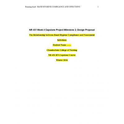 NR 451 Week 4 Capstone Project Milestone 2 - Design for Change Proposal Paper ► Spring 2016