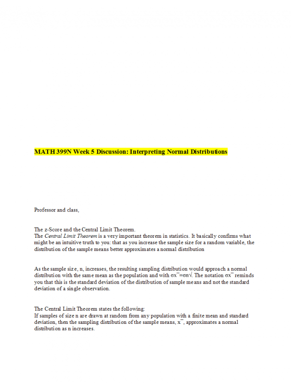 MATH 399N Week 5 Discussion Topic: Interpreting Normal Distributions → Spring 2017