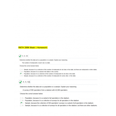 MATH 399N Week 1 Homework Solutions (Version 1): → Spring 2017