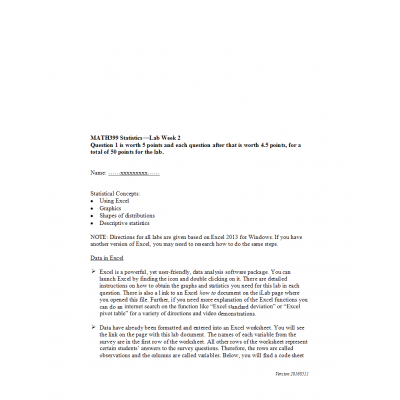 MATH 399N Week 2 Lab (Assignment Solution - Version 1): → Spring 2017