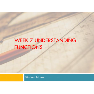MATH 114N Week 7 Assignment; Introduction to functions: Summer 2017