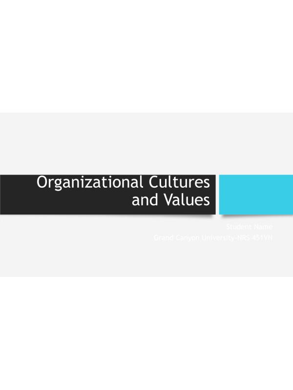 NRS 451VN Topic 4 Organizational Culture & Value Presentation