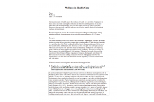 HLT 305 Topic 6 Assignment; Wellness in Health Care: Spring 2020