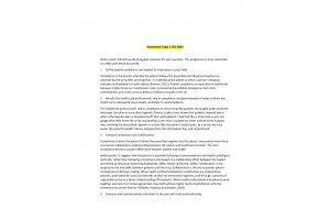 HLT 306V Topic 1 Homework; Patient Compliance and Patient Education: Spring 2020