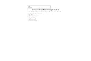 PHI 105 Topic 2 Assignment; Persuasive Essay Brainstorm Worksheet: Spring 2020