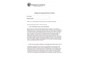 PHI 105 Topic 5 Assignment; Thinking and Language Reflection Worksheet: Spring 2020