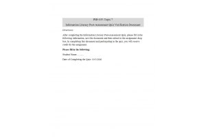 PHI 105 Topic 7 Assignment; Information Literacy Post-Assessment Quiz Verification Document: Spring 2020