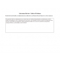 HLT 364 Topic 3 Assignment; Literature Review - Table of Evidence