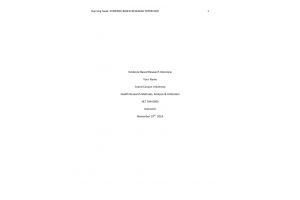 HLT 540 Topic 2 Assignment; Evidence-Based Research Interview: Spring 2020