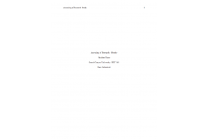 HLT 540 Topic 3 Assignment; Assessing a Research Study: Spring 2020