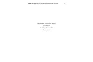 HLT 308V Topic 1 Assignment; Benchmark - Risk Management Program Analysis; Part One (Version 2): Spring 2020