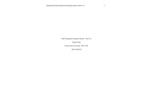 HLT 308V Topic 3 Assignment; Benchmark - Risk Management Program Analysis; Part Two  (Version 2): Spring 2020