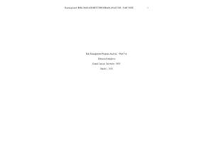 HLT 308V Topic 3 Assignment; Benchmark - Risk Management Program Analysis; Part Two  (Version 1): Spring 2020