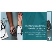 NURS 6051 Module 1 Assignment; The Nurse Leaderas a Knowledge Worker (8 Slides Presentation): Year 2020