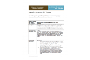 NURS 6050 Module 2 Assignment; Legislation Comparison Grid and Testimony-Advocacy Statement: Year 2020