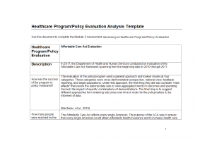 NURS 6050 Module 5 Portfolio Assignment; Assessing a Healthcare Program-Policy Evaluation: Year 2020