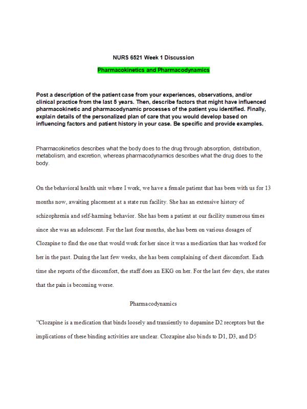 NURS 6521 Week 1 Discussion; Pharmacokinetics and Pharmacodynamics (Nov Term)