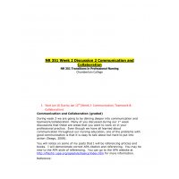 NR 351 Week 2 Graded Discussion Topic - Communication and Collaboration