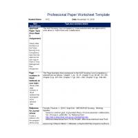 NR 351 Week 4 Assignment; Professional Paper Worksheet