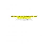 NR 512 Week 6 TD 2 Issues Surrounding Personal Health Information (PHI) Ownership → Spring 2016