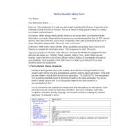 NR 305 Week 3 Family Genetic History Form: Spring 2015