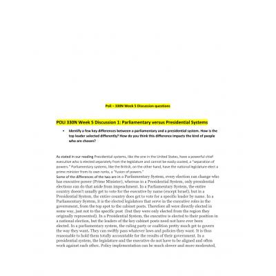 POLI 330N Week 5 Discussion Question 1 & 2
