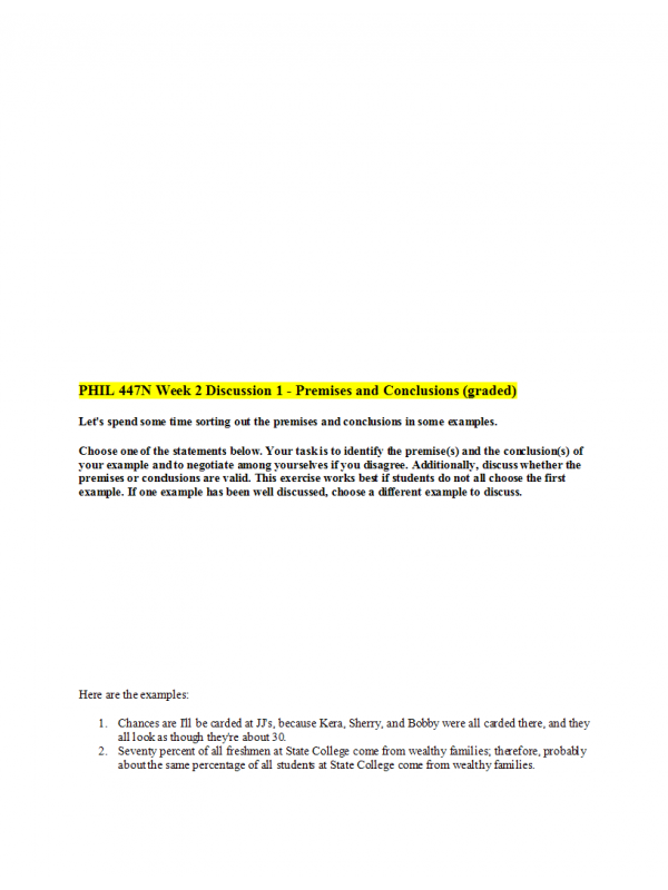 PHIL 447N Week 2 Discussion Question 1 - Premises and Conclusions (graded)
