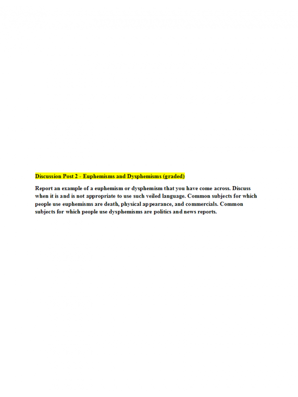PHIL 447N Week 3 Discussion Question 2 - Euphemisms and Dysphemisms (graded)