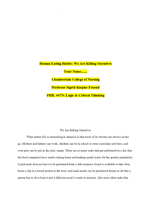 PHIL 447N Week 7 Course Project; Final Paper (Human Eating Habits)