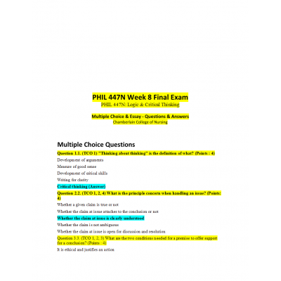 PHIL 447N Week 8 Final Exam